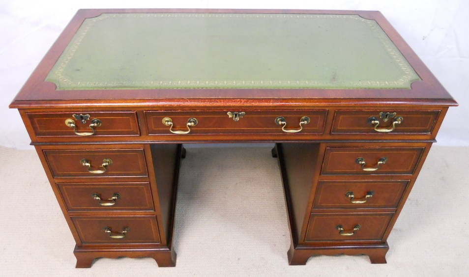 - Antique Style Mahogany Pedestal Desk By Bradley - SOLD